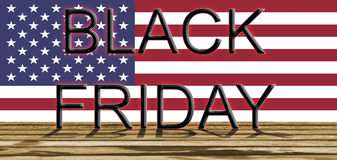 Black Friday on USA flag and wooden floor Stock Images