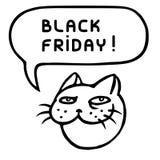 Black friday. ?ute tomcat head. Speech bubble. Vector illustration. Royalty Free Stock Image