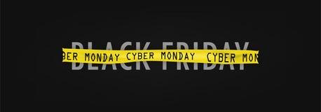 Black Friday van cybermaandag, inschrijving op band stock illustratie