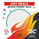 Black Friday Vector Flyer, Banner, with modern design. Unique text, with various color designs Stock Images