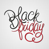 Black Friday. Vector Illustration. Black & Red Hand Lettered Text with Shadows Royalty Free Stock Photography