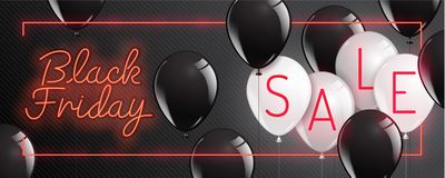 Black Friday vector , neon style,balloon, banner sale, discounts. Vector illustration stock illustration