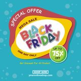 Black Friday vektorreklamblad, baner, med tecknad filmdesign royaltyfri illustrationer