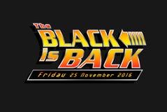 Black Friday vendita pubblicità 25 novembre 2016 Il nero è indietro Illustrazione del manifesto Vettore Fotografie Stock