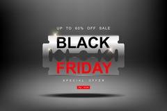 Black Friday, venta grande de la hoja de afeitar 3d, cortando descuentos, corte de precios, plantilla creativa en diseño plano Imagenes de archivo
