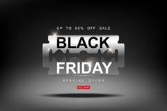 Black Friday, venta grande de la hoja de afeitar 3d, cortando descuentos, corte de precios, plantilla creativa en diseño plano Fotografía de archivo