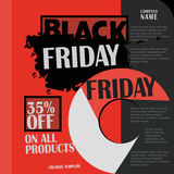 Black Friday, venta grande, plantilla creativa en diseño plano Foto de archivo libre de regalías
