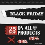 Black Friday, venta grande, plantilla creativa en diseño plano Imágenes de archivo libres de regalías