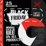 Black Friday, venta grande, plantilla creativa en diseño plano Imagenes de archivo