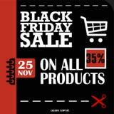 Black Friday, venta grande, plantilla creativa en diseño plano Imagen de archivo libre de regalías