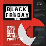 Black Friday, venta grande, plantilla creativa en diseño plano Fotografía de archivo
