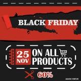 Black Friday, venta grande, plantilla creativa en diseño plano Fotografía de archivo libre de regalías