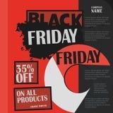 Black Friday, venta grande, plantilla creativa en diseño plano Imagen de archivo