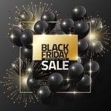 Black Friday-Verkauf auf schwarzen Ballonen und Feuerwerk für Designschablonenfahne, Vektorillustration Stockfotos