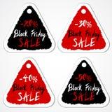 Black Friday-Verkauf etikettiert mit Zahlen des Skontoprozentsatzes Lizenzfreies Stockfoto