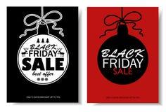 Black Friday-Verkaufs-Fahnen mit Weihnachtsball stock abbildung