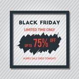 Black Friday-Verkaufs-Plakat auf Grey Stripped Background With Square Lizenzfreie Stockfotos