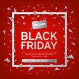 Black Friday-Verkaufs-Plakat mit Dreiecken auf rotem Hintergrund mit quadratischem Feld Auch im corel abgehobenen Betrag Stockfoto