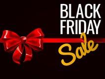 Black Friday-Verkaufs-rotes Geschenk-Bogen-Zeichen stock abbildung
