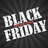 Black Friday-Verkaufsaufschrift, -plakat oder -fahne mit defekten Buchstaben auf Retro- Hintergrund Vektorillustration für Feiert Lizenzfreie Stockfotografie