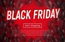 Black Friday-Verkaufsfahne mit realistischen Ballonen lizenzfreie stockfotos