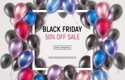 Black Friday-Verkaufsfahne mit realistischen Ballonen stockbilder