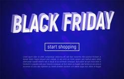 Black Friday-Verkaufsfahne mit Titel 3d auf Blau stockbilder