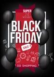 Black Friday-Verkaufsfahnenschablone für Netz, Druckdesignproduktion Schwarzer Luftballon auf Kontrastschwarzhintergrund Stockfoto
