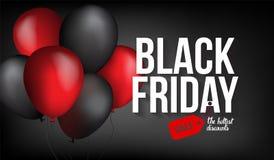 Black Friday-Verkaufsfahnenschablone für Netz, Druckdesignproduktion Schwarzer und roter Luftballon auf Kontrastschwarzem stockfotos