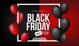 Black Friday-Verkaufsfahnenschablone für Netz, Druckdesignproduktion Schwarzer und roter Luftballon auf Kontrastschwarzem und -RO Lizenzfreie Stockbilder