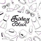 Black Friday-Verkaufshandbeschriftung Frauen Kleidung, Schuhe, Unterwäsche und Zubehör Lizenzfreie Stockbilder