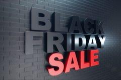 Black Friday, Verkaufsmitteilung für Geschäft, großer Rabatt Black Friday-Fahne auf Backsteinmauer Fahne für Black Friday-Verkäuf stock abbildung