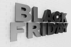 Black Friday, Verkaufsmitteilung für Geschäft, großer Rabatt Text 3d in der Schwarzweiss-Farbe Moderne Auslegung Fahne für Schwar vektor abbildung