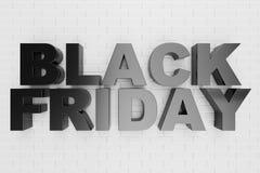 Black Friday, Verkaufsmitteilung für Geschäft, großer Rabatt Text 3d in der Schwarzweiss-Farbe Moderne Auslegung Fahne für Schwar stock abbildung