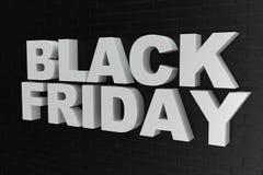 Black Friday, Verkaufsmitteilung für Geschäft, großer Rabatt Text 3d in der Schwarzweiss-Farbe Moderne Auslegung Fahne für Schwar lizenzfreie abbildung