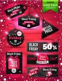 Black Friday-Verkaufspapier etikettiert, Aufkleber und Fahnen Stockfoto