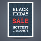 Black Friday-Verkaufsplakat Auch im corel abgehobenen Betrag Lizenzfreies Stockfoto