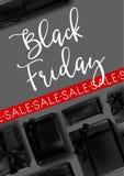 Black Friday-Verkaufsplakatrabatt Promogeschenkboxbogenvektor-Shopfahne lizenzfreie abbildung