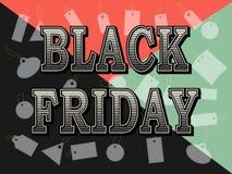 Black Friday-Verkaufsweinleseaufschrift-Designschablone Black Friday-Fahne mit farbigem geometrischem Hintergrund und mit Muster  Lizenzfreies Stockbild