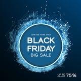 Black Friday-Verkaufszusammenfassungshintergrund Futuristische Technologieart Große Daten Design mit dem Plexus stock abbildung