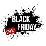 Black Friday-Verkoop grunge banner met zwarte verfplonsen op witte achtergrond royalty-vrije illustratie