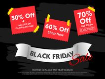 Black Friday-Verkoop het winkelen Aanbieding en Bevorderingsachtergrond op vooravond van Vrolijke Kerstmis Stock Afbeelding