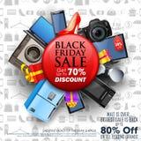Black Friday-Verkoop het winkelen Aanbieding en Bevorderingsachtergrond op vooravond van Vrolijke Kerstmis Royalty-vrije Stock Foto