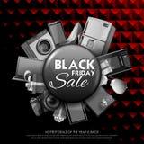 Black Friday-Verkoop het winkelen Aanbieding en Bevorderingsachtergrond op vooravond van Vrolijke Kerstmis Stock Afbeeldingen