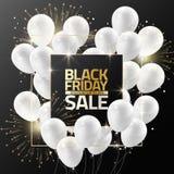 Black Friday-verkoop op zwart kader met witte ballons en vuurwerk voor de banner van het ontwerpmalplaatje, Vectorillustratie Royalty-vrije Stock Afbeeldingen