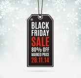 Black Friday-verkoop realistisch document prijskaartje Stock Foto
