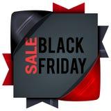 Black Friday-verkoop, vierkante banners met gekleurde linten Giften F Stock Foto