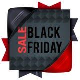 Black Friday-verkoop, vierkante banners met gekleurde linten Giften F Stock Afbeeldingen