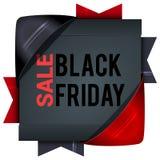 Black Friday-verkoop, vierkante banners met gekleurde linten Giften F Royalty-vrije Stock Afbeelding