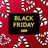 Black Friday-Verkoopaffiche met Glanzende Zwarte Harten op Rode Achtergrond met Vierkant Gouden Kader Vector illustratie royalty-vrije stock afbeelding